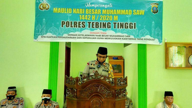 "Giat Maulid Nabi, Polres Tebingtinggi ; ""Teladani Akhlak Kepemimpinan Nabi Muhammad Saw"""