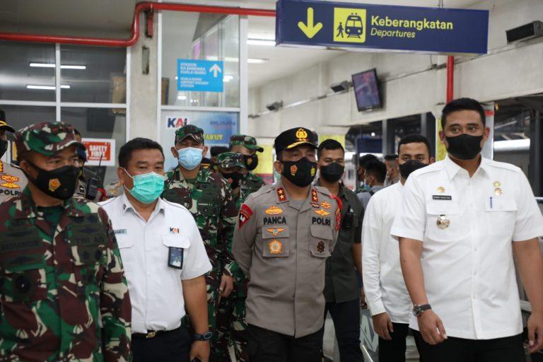 Penerapan Prokes di Stasiun Kereta Api, Kapoldasu, Pangdam I/BB dan Wali Kota Medan Tinjau  Lokasi